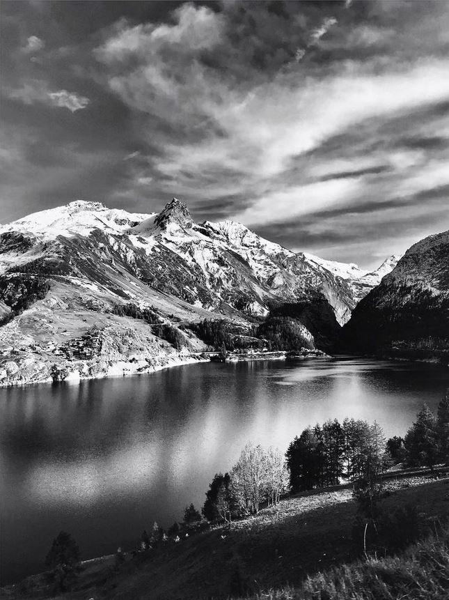 lac de tignes montagne neige